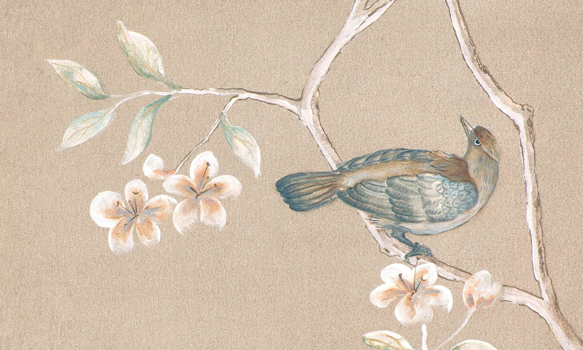 Hand painted chinoiserie wallpaper zoe design for A mural is painted on a