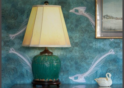 "Ghost Fish (NA8499) : Photograph of fish skeleton over Bahamian waters, printed on Digital Wallpaper with Archival inks. 35"" repeat. © Doug Garrabrants 2014"