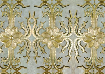 "Brass Herald (DE4242) : Wallpaper Pattern created from a brass harold, depicted here on a glazed background. It is available with any color or texture background in custom sizing. Max Herald size 10'5"" x 18"", we like it best at 60% 6.5""x11"". Background (pictured here) repeat 43.5""w x 73'h.  © Doug Garrabrants 2014"