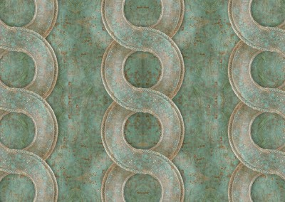 Bronze Chain (MW9735) : Wallpaper or border pattern of antique verdigris bronze with a patina. The interlaced pattern can be to 20 inches wide. This rope, chain or interlacement pattern can be produced in many styles and patterns. © 2015 Doug Garrabrants
