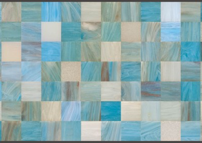 "Glass Tile (DE2014) : This blue, green and beige tile wallpaper has the look of polished stone or glass. With a combination of warm and cool, it will fit into nearly any color pallet. We can customize this, choose particular color tiles to limit or punch the pallet, or change the pattern to a subway tile, octagon, triangle or other. Repeat max 104"" x 60.6"" with each square up to 8.6"". © Doug Garrabrants 2014"
