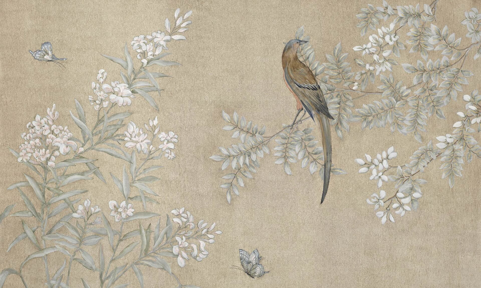 Zo design hand painted chinoiserie mural wallpaper for Chinoiserie design