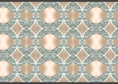 "Rings-Variation1 (MA0294)  : Modern Art Wallpaper depicting silver ovals on a beige field. Max repeat 30.4"" x 40.5"". © Doug Garrabrants 2014"