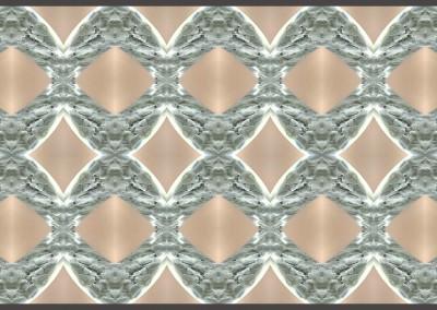 "Rings-Variation2 (MA0294)  : Modern Art Wallpaper depicting silver ovals on a beige field. Max repeat 30.4"" x 40.5"". © Doug Garrabrants 2014"
