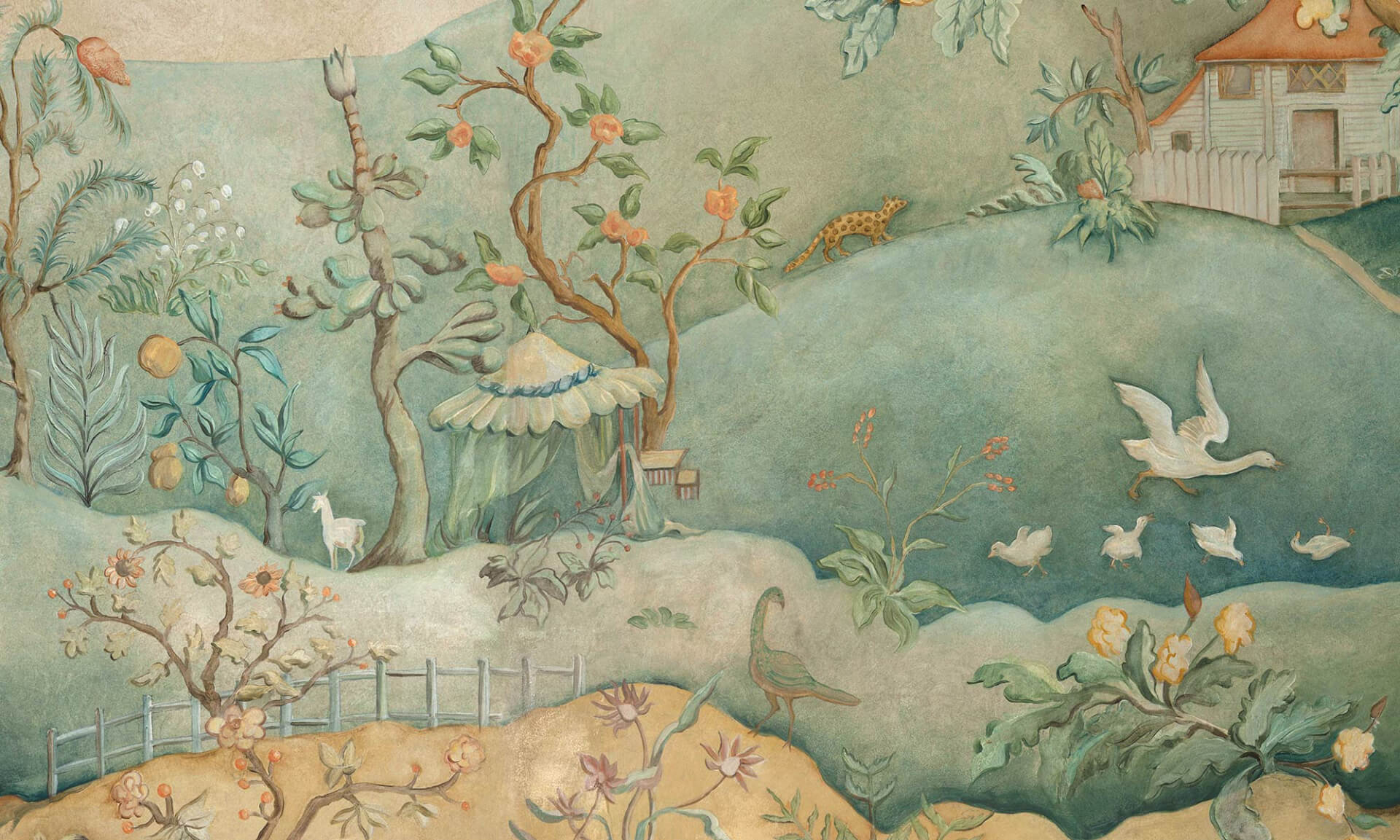 Zo design hand painted chinoiserie mural wallpaper for Chinoiserie mural wallpaper