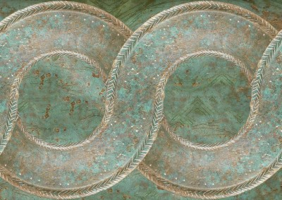 Bronze Chain (MW9735)-Detail : Wallpaper or border pattern of antique verdigris bronze with a patina. The interlaced pattern can be to 20 inches wide. This rope, chain or interlacement pattern can be produced in many styles and patterns. © 2015 Doug Garrabrants