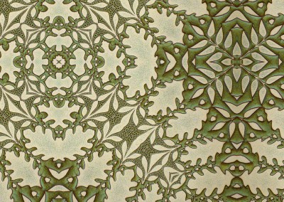 "Woodland 2 (Detail) : Green and yellow organic pattern inspired by nature. This wallpaper looks best at 75% with an 11"" repeat. © Doug Garrabrants"