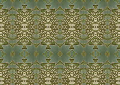 "Woodland 3 ;  Green and yellow organic pattern inspired by nature. This wallpaper looks best at 33% with a 12"" x 27"" repeat. © Doug Garrabrants"