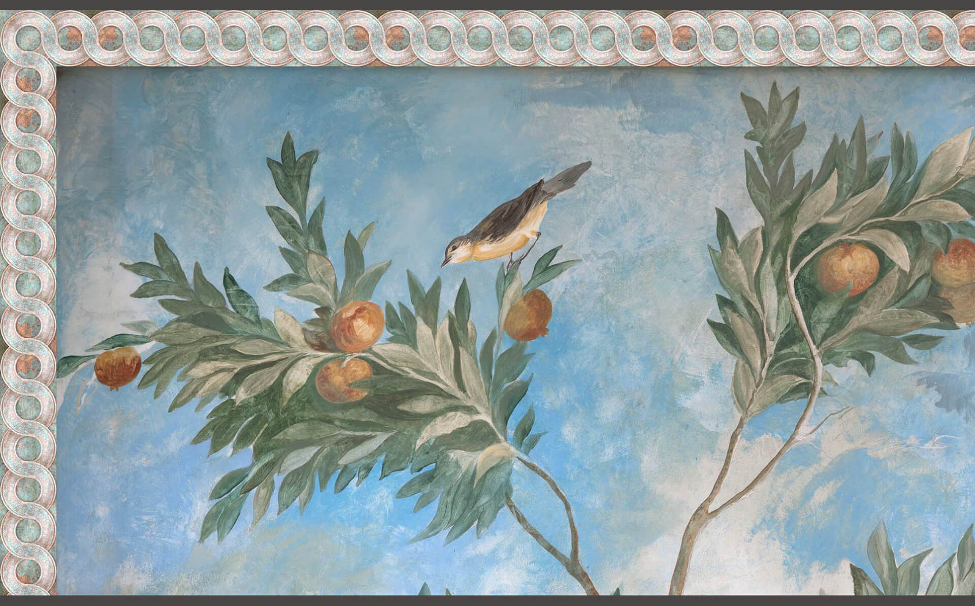 Villa Livia Mural with Bronze Chain Border Doug Garrabrants