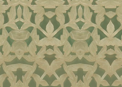"Jade (ST9975)-Detail : This wall covering pattern is made up of a latice of carved jade. The repeat is 13.5"" c 50"" at 100%. © 2014 DOUG GARRABRANTS"