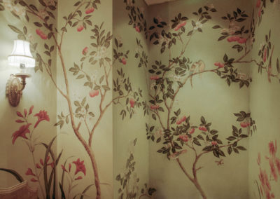 Chinoiserie  on green apple ground - Clements Design