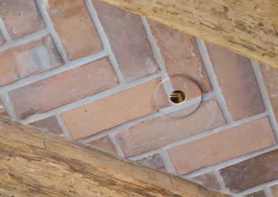Light trim, hand painted to match surrounding brick.